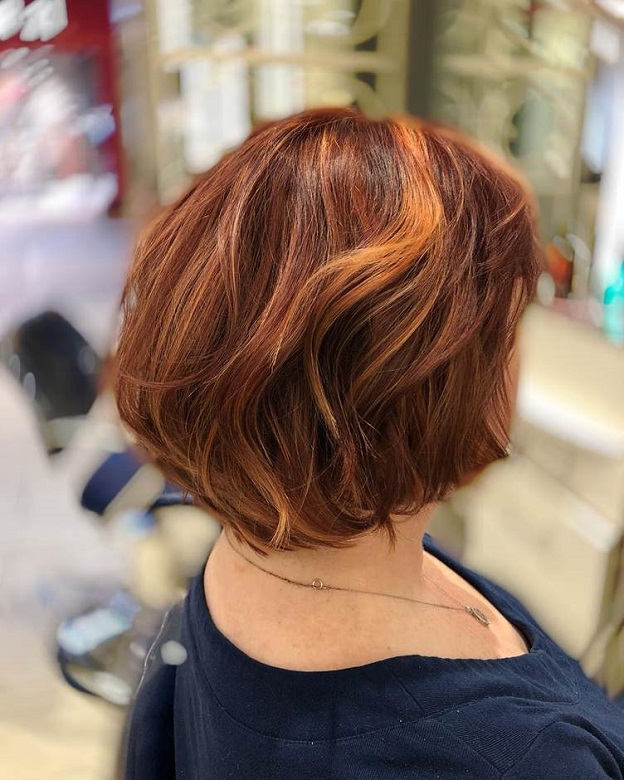 red hair with chunky blonde highlights