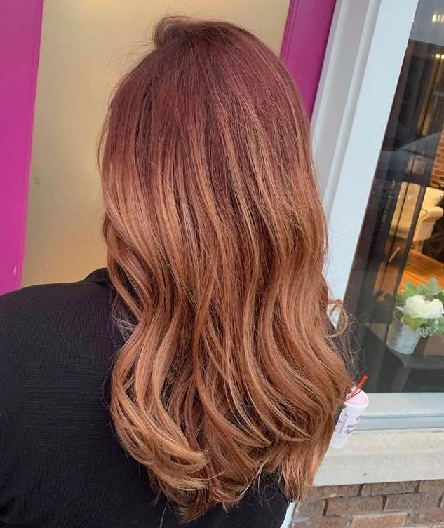Red Hair with Blonde Balayage Highlights