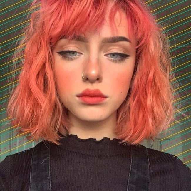 short red orange hair with bangs