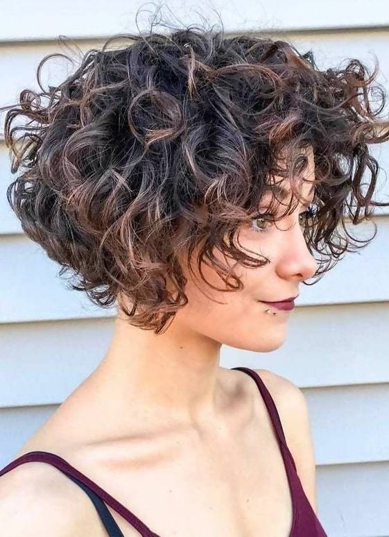 curly stacked bob