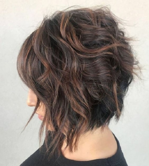 shaggy stacked bob hairstyle