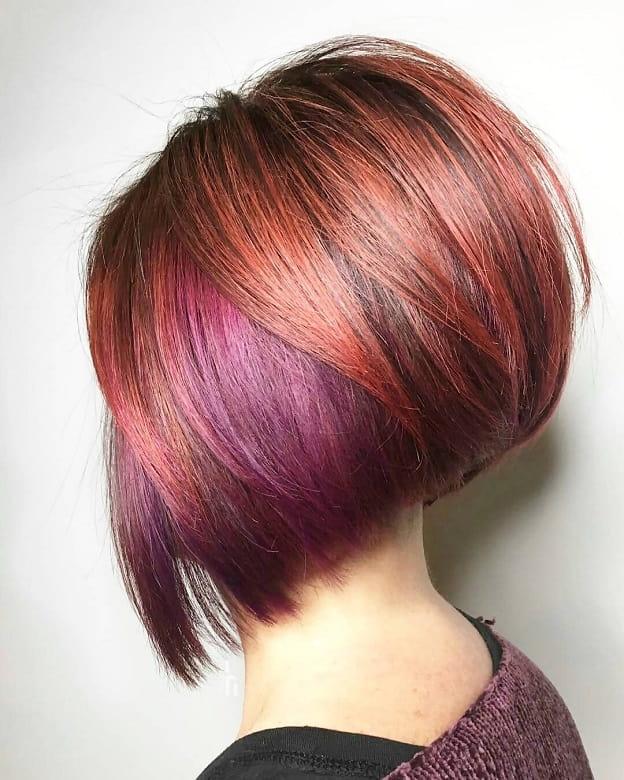 colorful stacked bob haircut