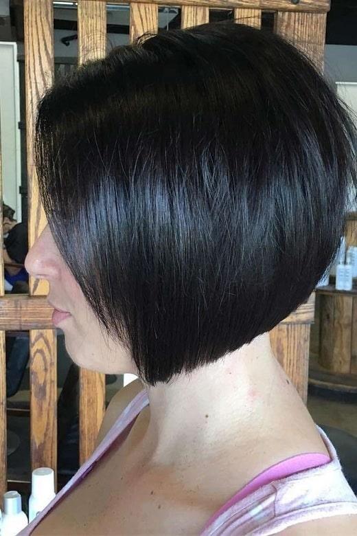 sleek stacked bob haircut