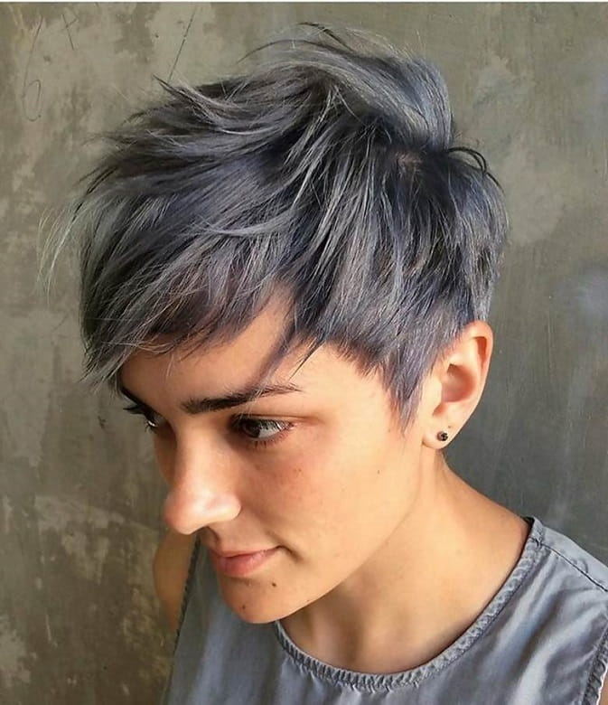 textured grey pixie cut for women