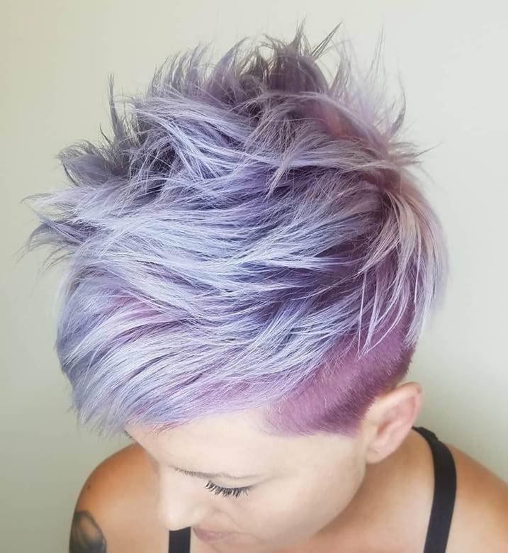 textured lavender pixie cut