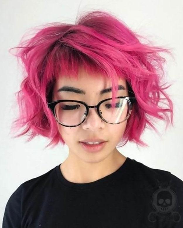 Pink Tousled Bob with Short Bangs