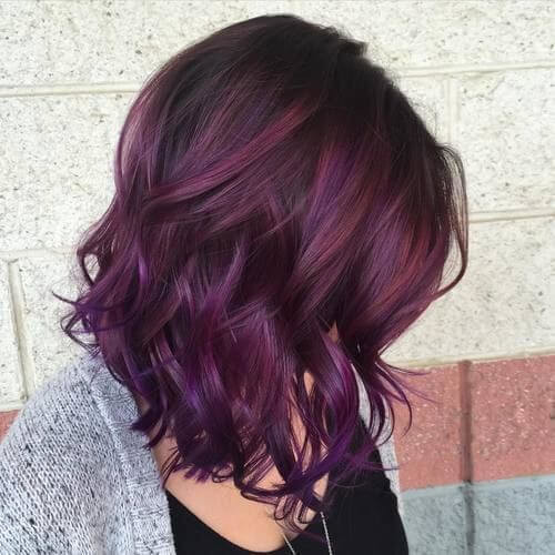 bob with aubergine ombre hair color