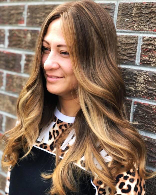 bright gold balayage on long hair