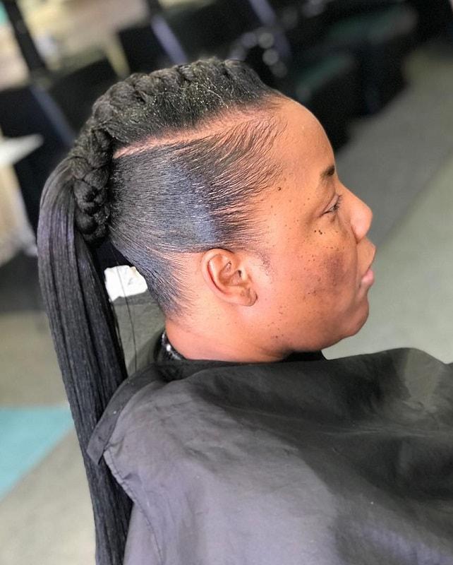 goddess braided ponytail updo