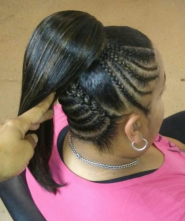black ponytail updo with cornrow braids
