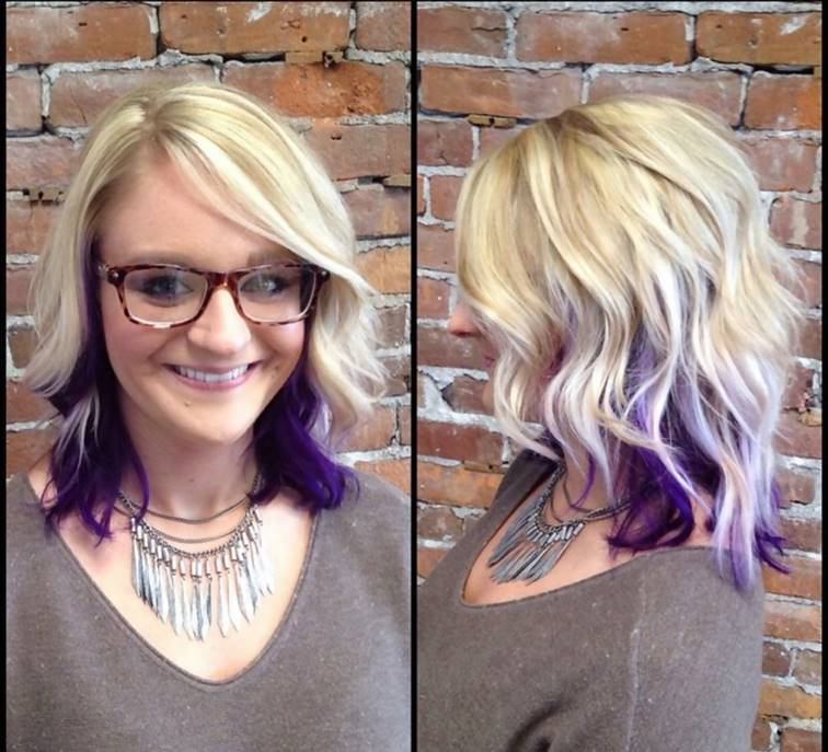 Dark Purple Peekaboo Highlights on Platinum Blonde Hair