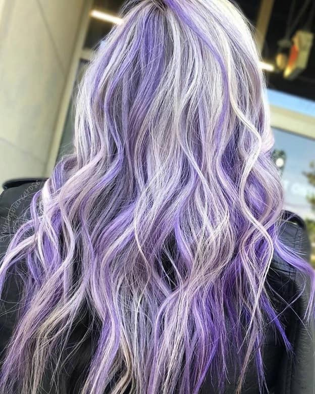 Lavender Purple Highlights on Ashy Blonde Hair