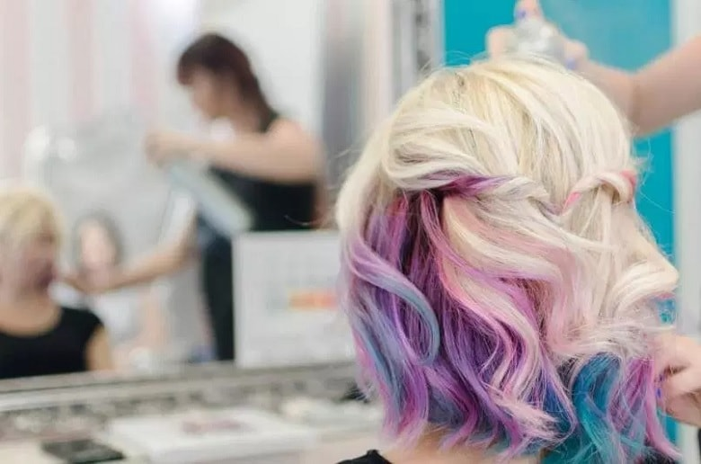 How to Do Purple Peekaboo Highlights on blonde hair