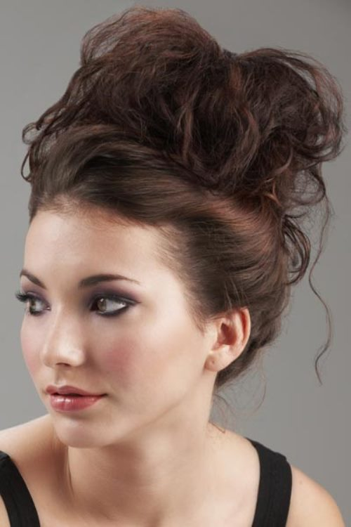High bun for long choppy layered hair