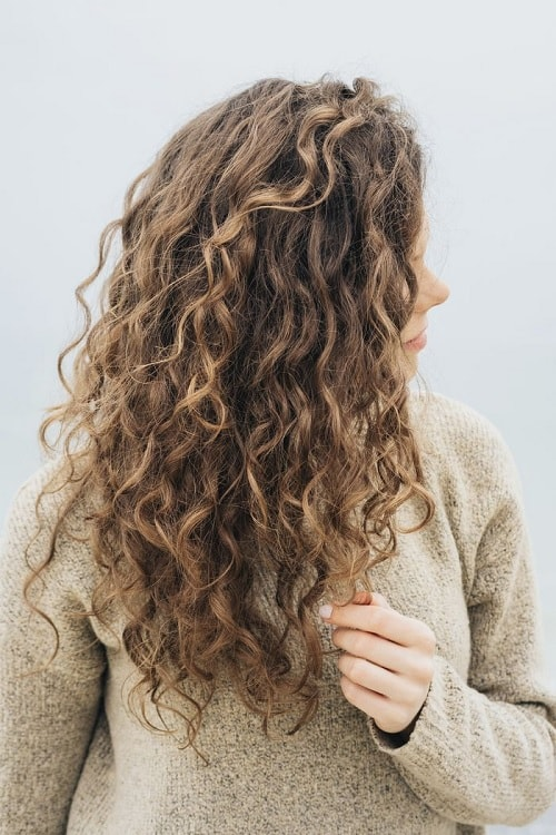 long curly hair with choppy layers