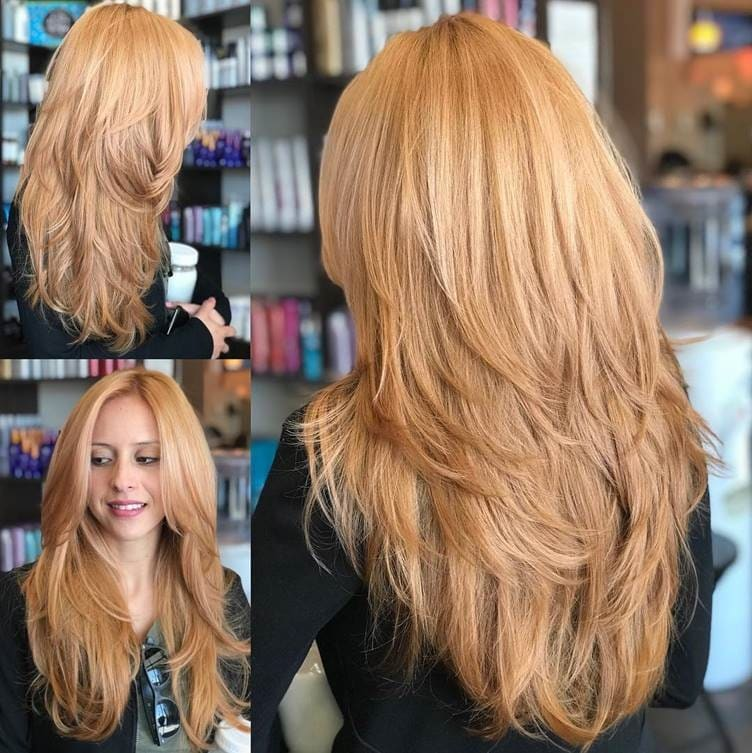 long copper blonde layered hairstyle for women