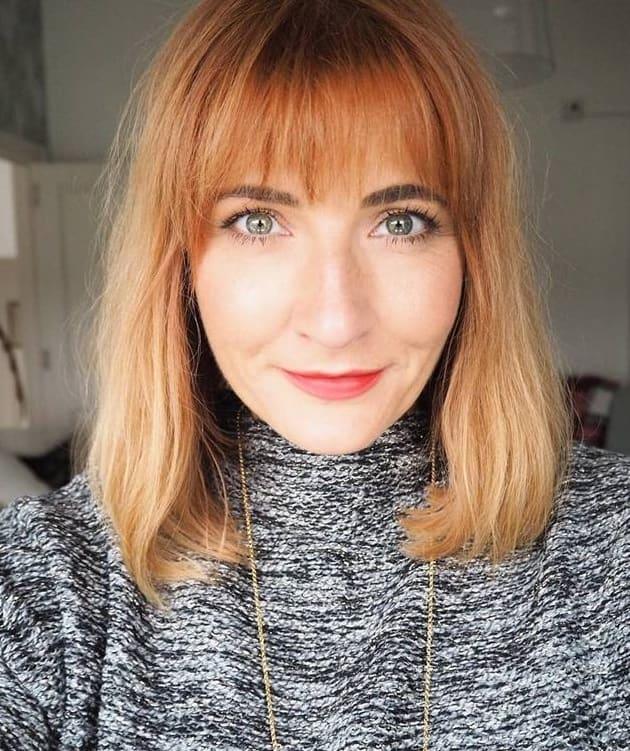 wispy bangs for copper blonde hair
