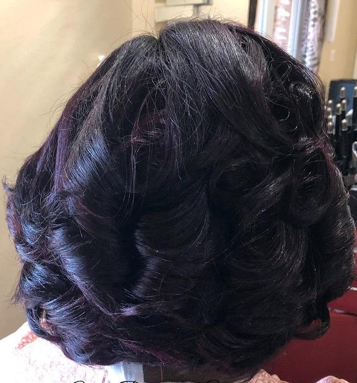 curly permed bob weave