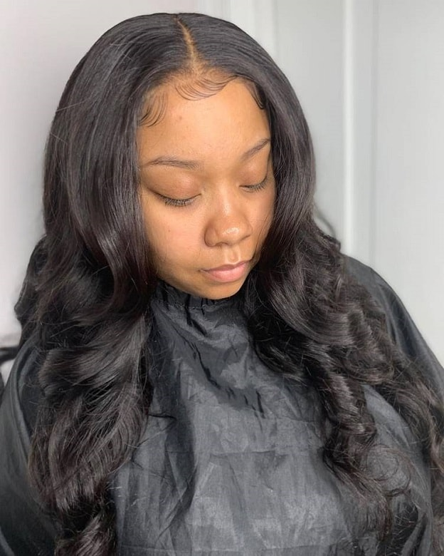 sew in weave with waterfall curls