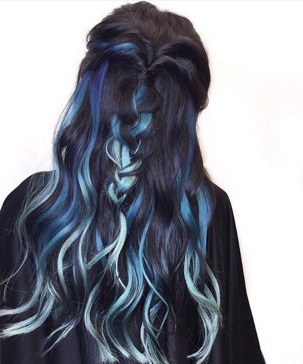 faded blue streaks on black hair