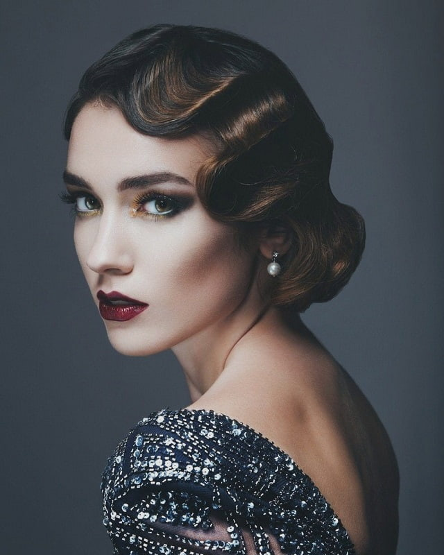 vintage style finger waves with weave