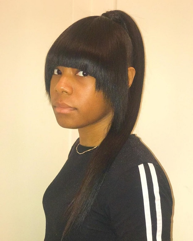 high weave ponytail with bangs