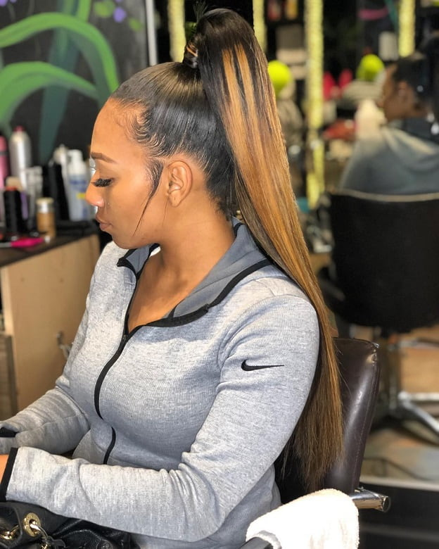 high light brown weave ponytail