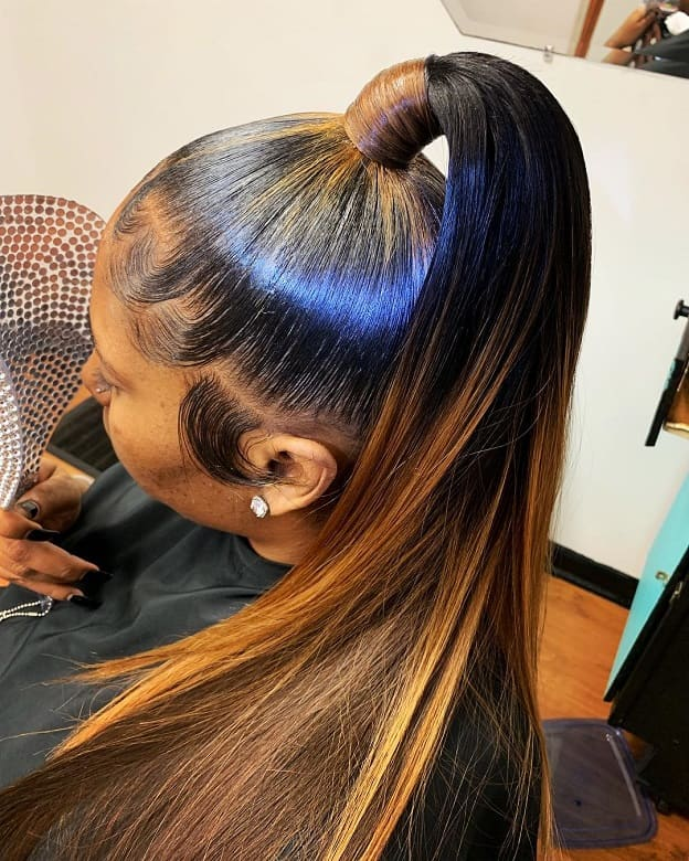 high genie ponytail with weave