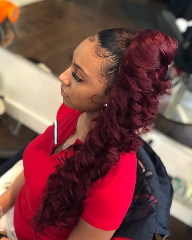 red curly ponytail with weave