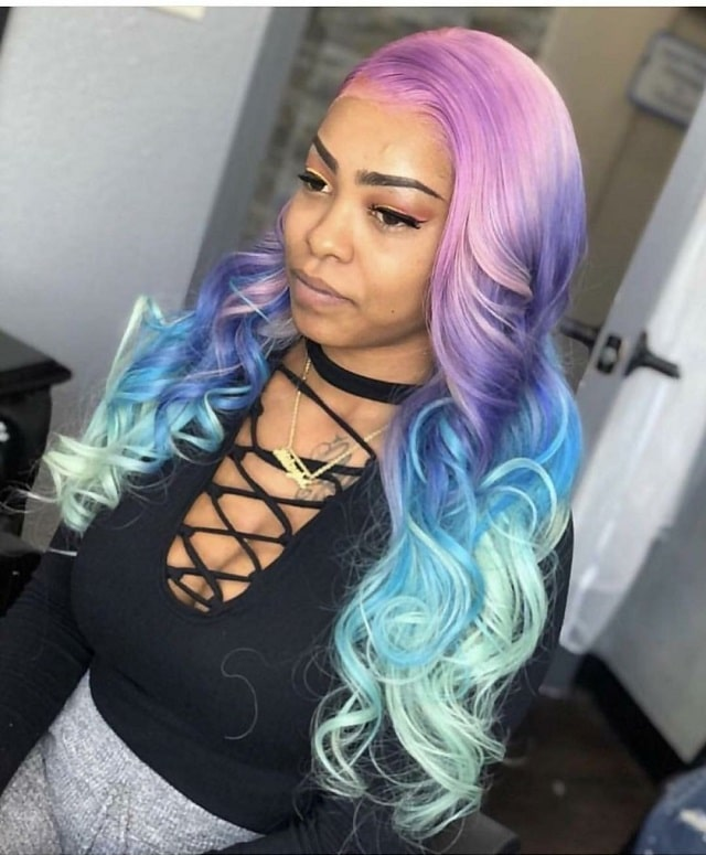 long curly ombre with weave