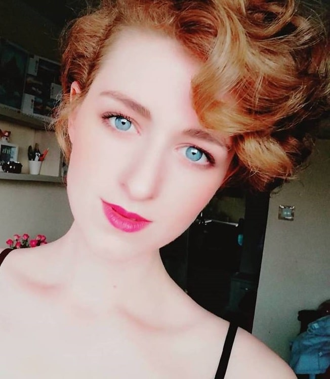 long curly pixie with bangs