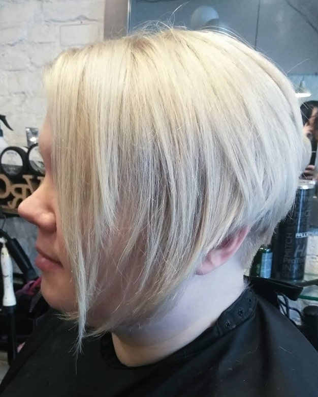long platinum pixie with side bangs