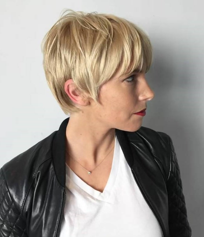 long pixie cut with thick bangs