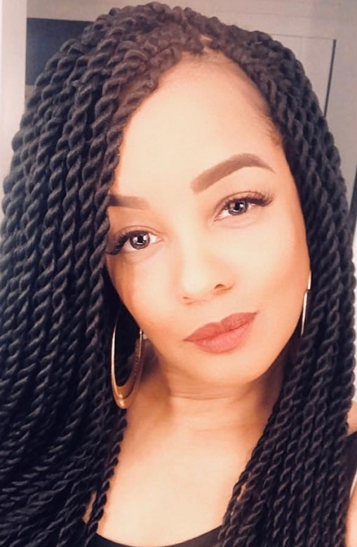 black women with big senegalese twist hairstyle