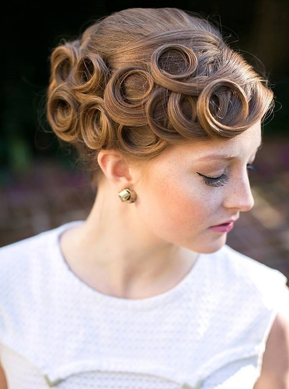 Pin Curl Updo for Short Hair