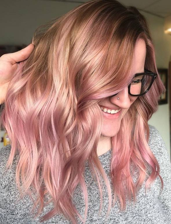 Light Caramel Brown Wavy Hair with Pink Highlights