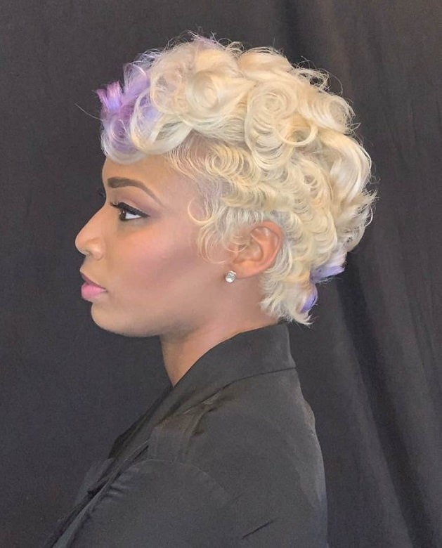 black girl with blonde pixie cut