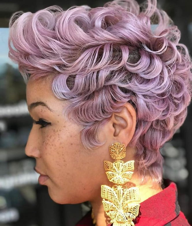 Pastel Pink Short Pixie Cut for Black Hair