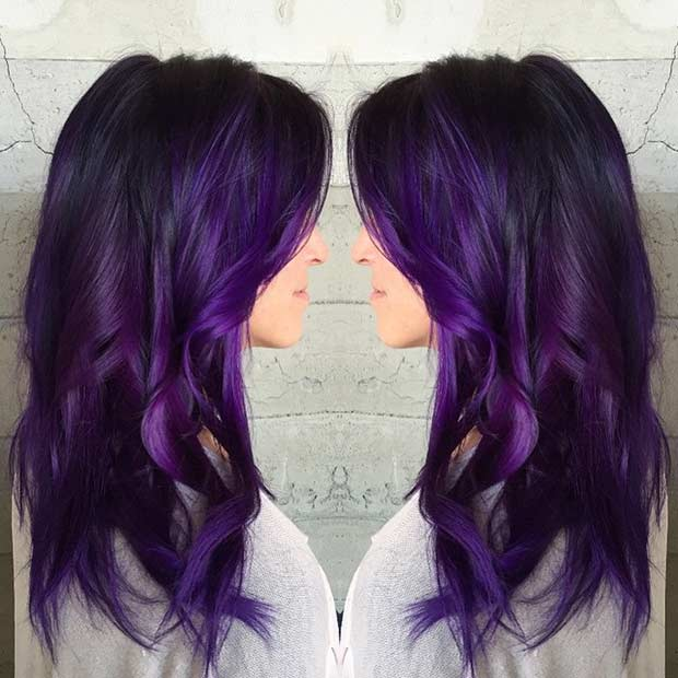 purple hair with black roots