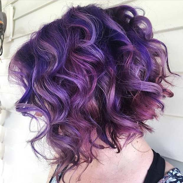 short curly purple black hair