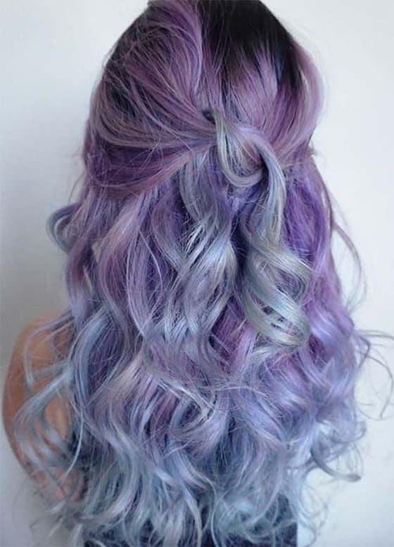 pastel purple balayage on black hair