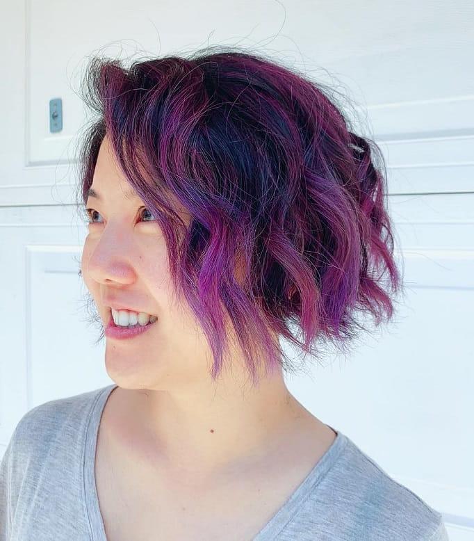 purple ombre short wavy hair