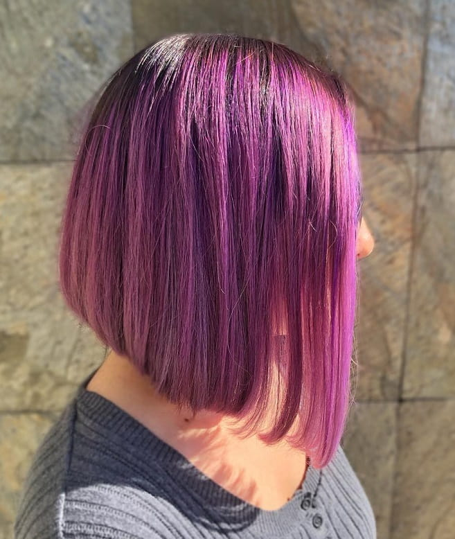 purple ombre angled bob for short hair