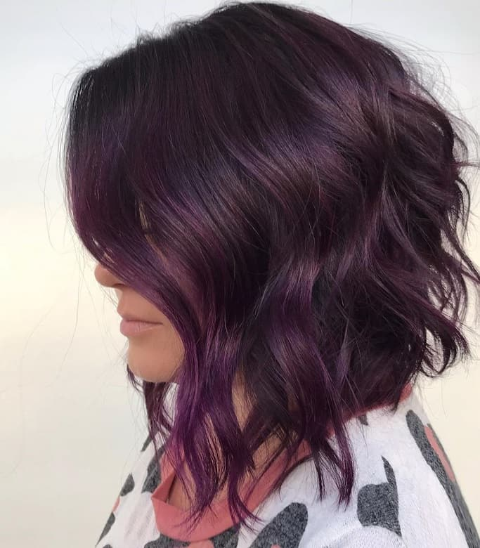 smokey purple ombre for short hair
