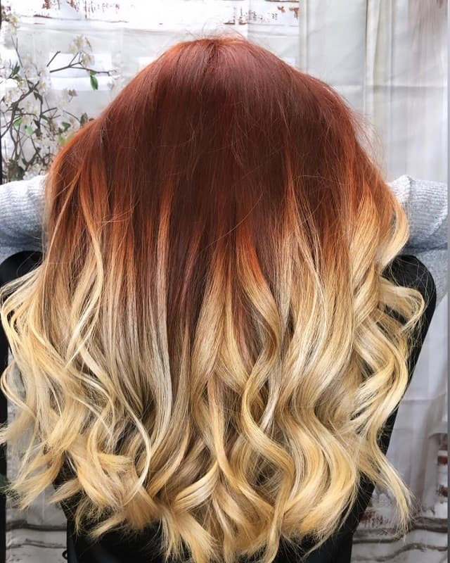 long red hair with blonde ombre
