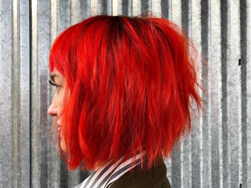 red shaggy bob