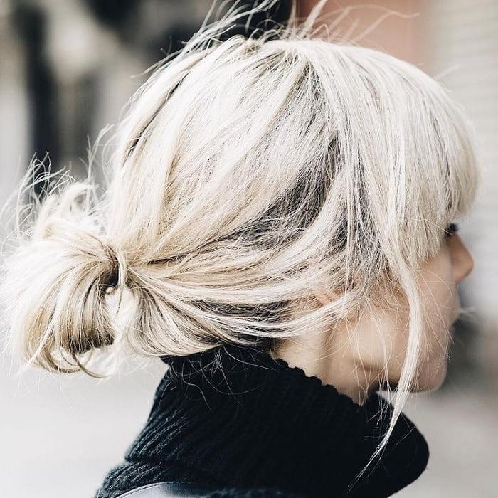 bob ponytail with short blonde hair