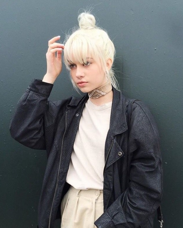 short icy blonde hair with bangs