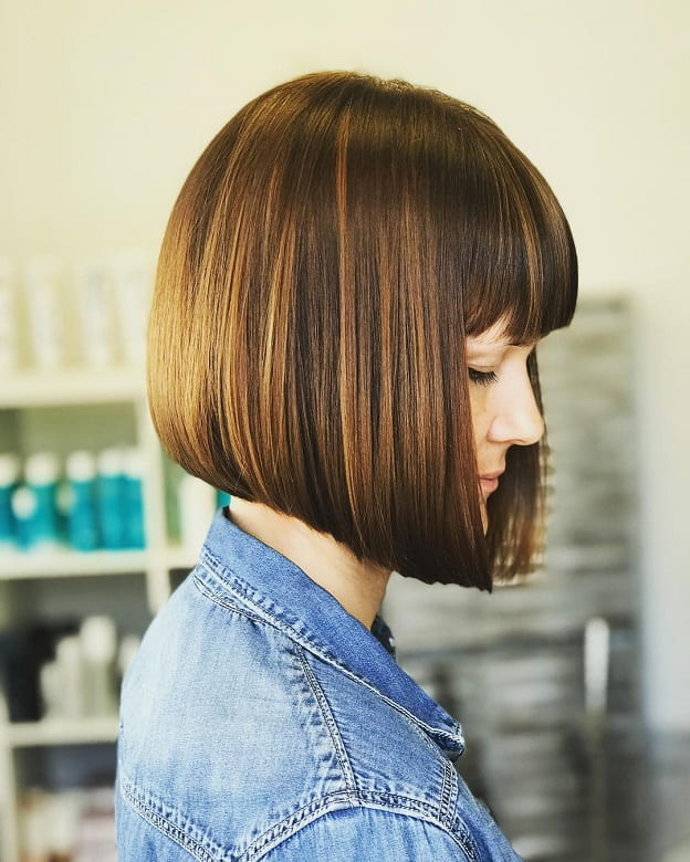 Short Copper Blonde Stacked Bob with Bangs