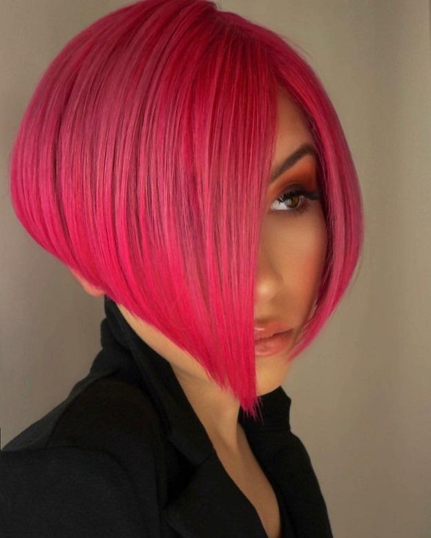Pink A-line Weave bob